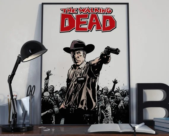 Walking Dead Comic Book Art 11 a Classic Rick Comic Book Cover Art Cover for the Big Boys Geek man cave nerds bedroom office