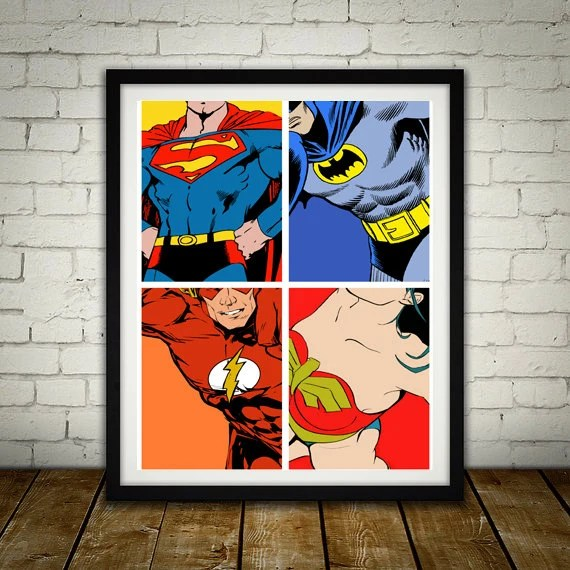 4 Superheros - PRINTED comic book style for the Big Boys Geek man cave nerds bedroom office kids nursery superhero dc comics