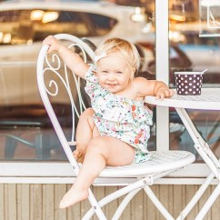 Folding Chair Lulu Coffee Table With Chairs Baby Romper Etsy Organic Vintage Floral Off The Shoulder Top Toddler Girl Clothes