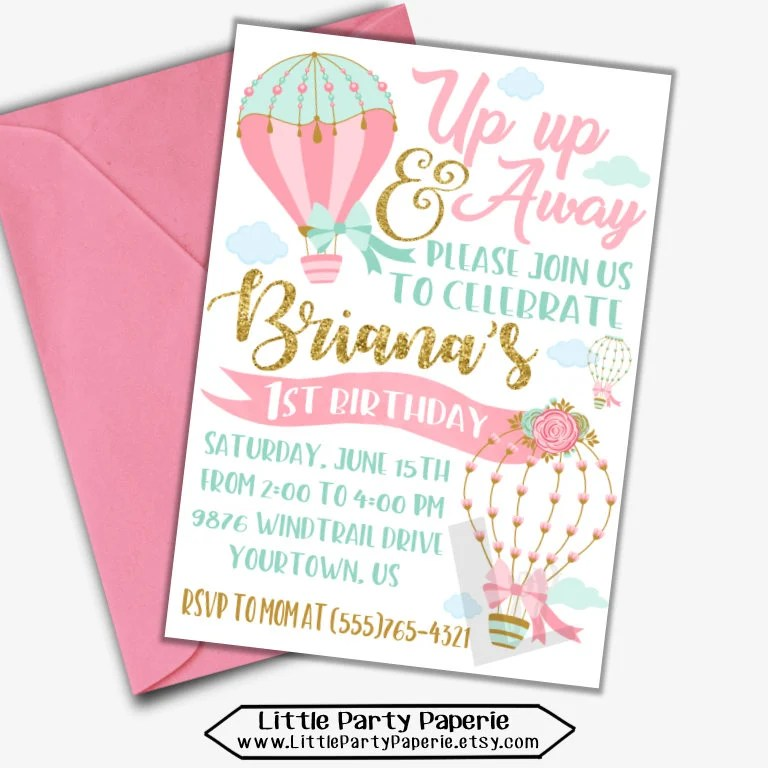 hot air balloon birthday invitation for
