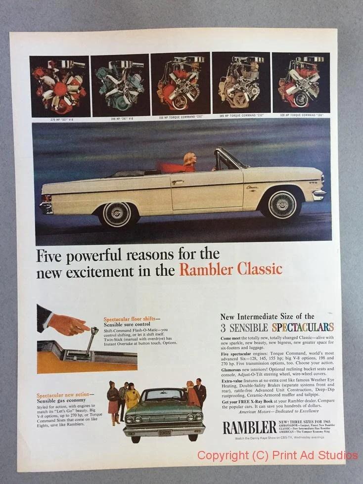 1965 Rambler : rambler, American, Motors, Rambler, Classic, Print, Vintage