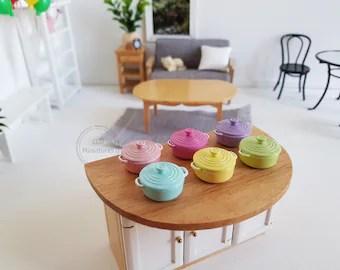 kitchen miniature laminate flooring in etsy 1 12 scale dollhouse cooking pot casserole dish mini soup le creuset stockpot