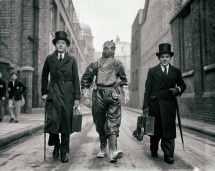 Vintage Creepy Print Poster Men Walking In Top Hats