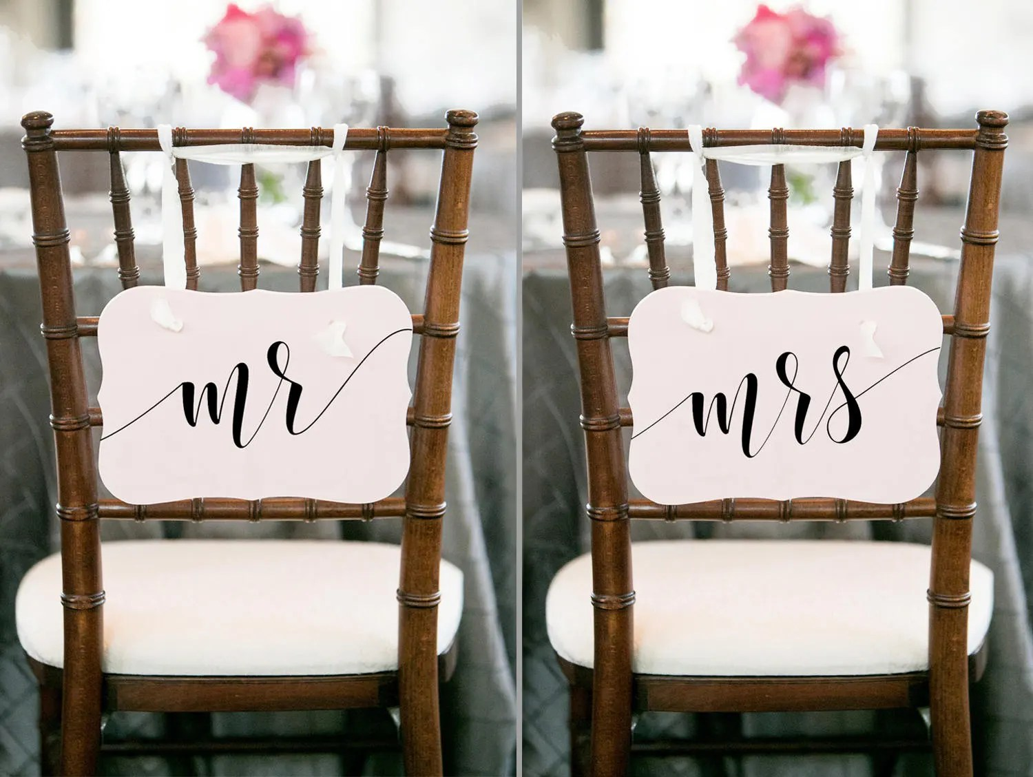 mr and mrs chair signs cafeteria tables with chairs attached wedding sign etsy image 0
