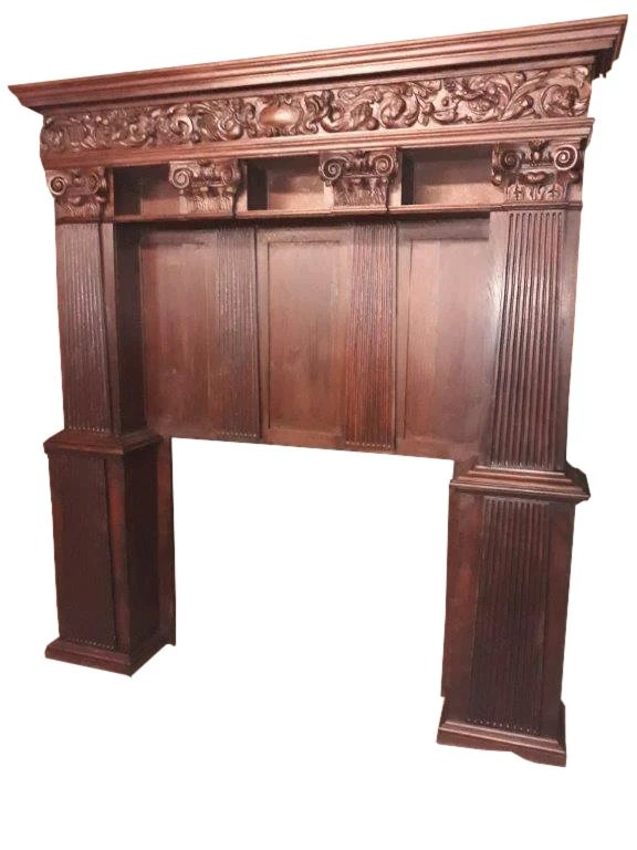Antique French Gothic Fireplace Surround Architectural Feature 1920 S 8727