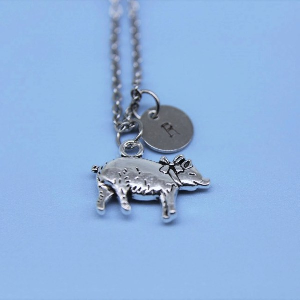 Silver Pig Charm Necklace Jewelry