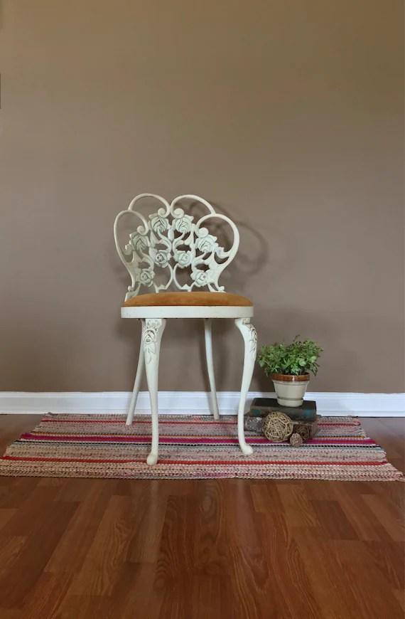 vintage vanity chair orange resin adirondack stool with back upholstered etsy image 0