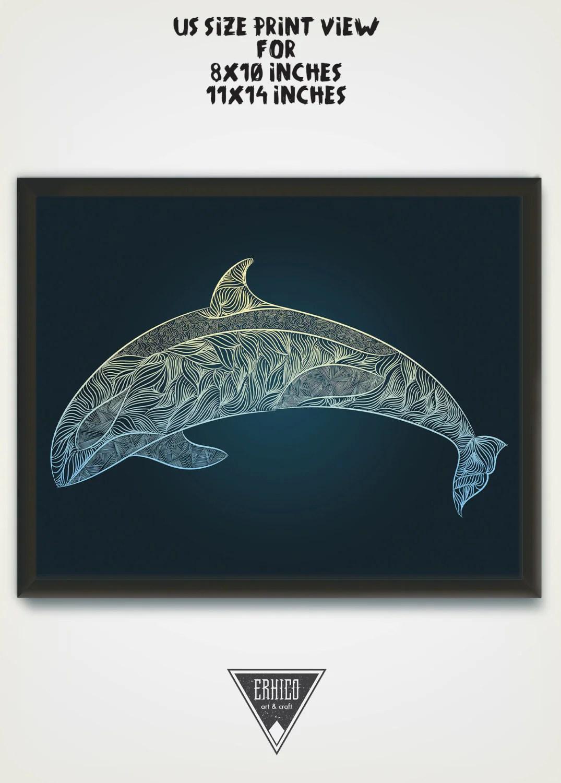 Whale Wall Art Digital Printable Orca Drawing Humpback