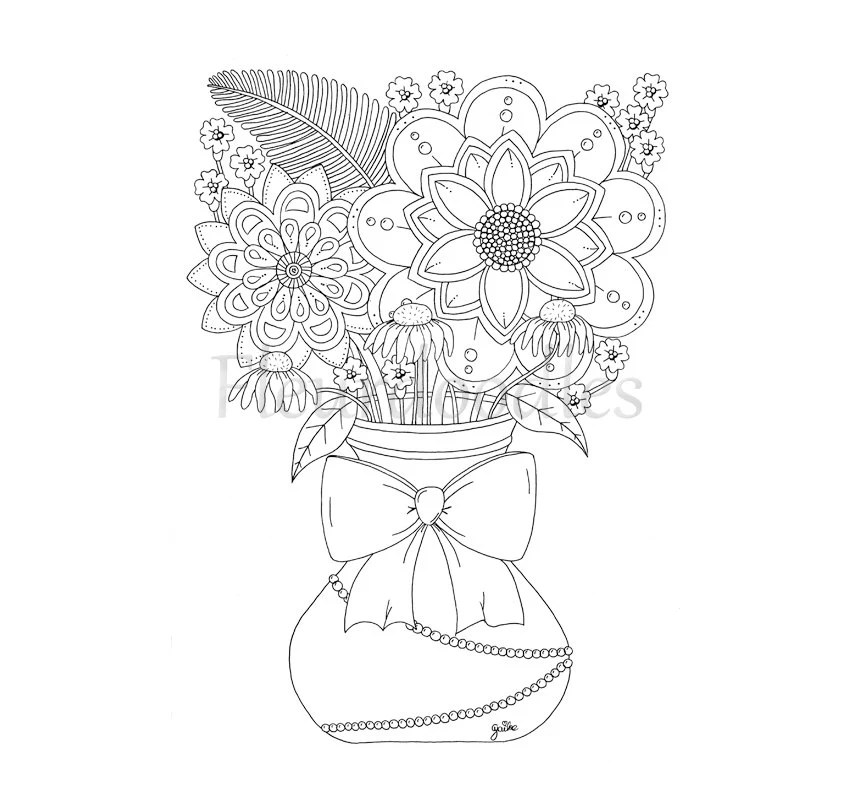 Items similar to coloring page, bouquet, floral coloring