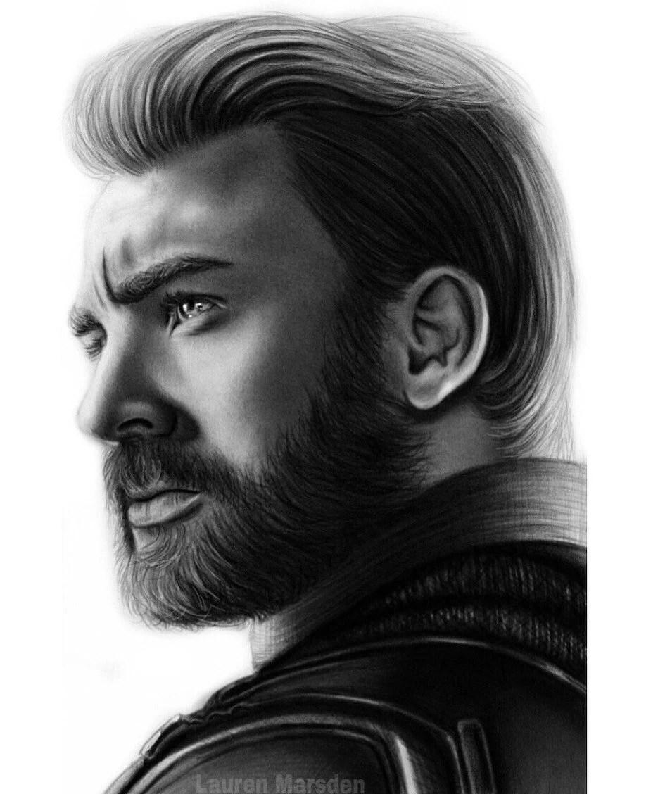 Captain America Hair Infinity War : captain, america, infinity, Chris, Evans, Captain, America, Avengers, Infinity, Print