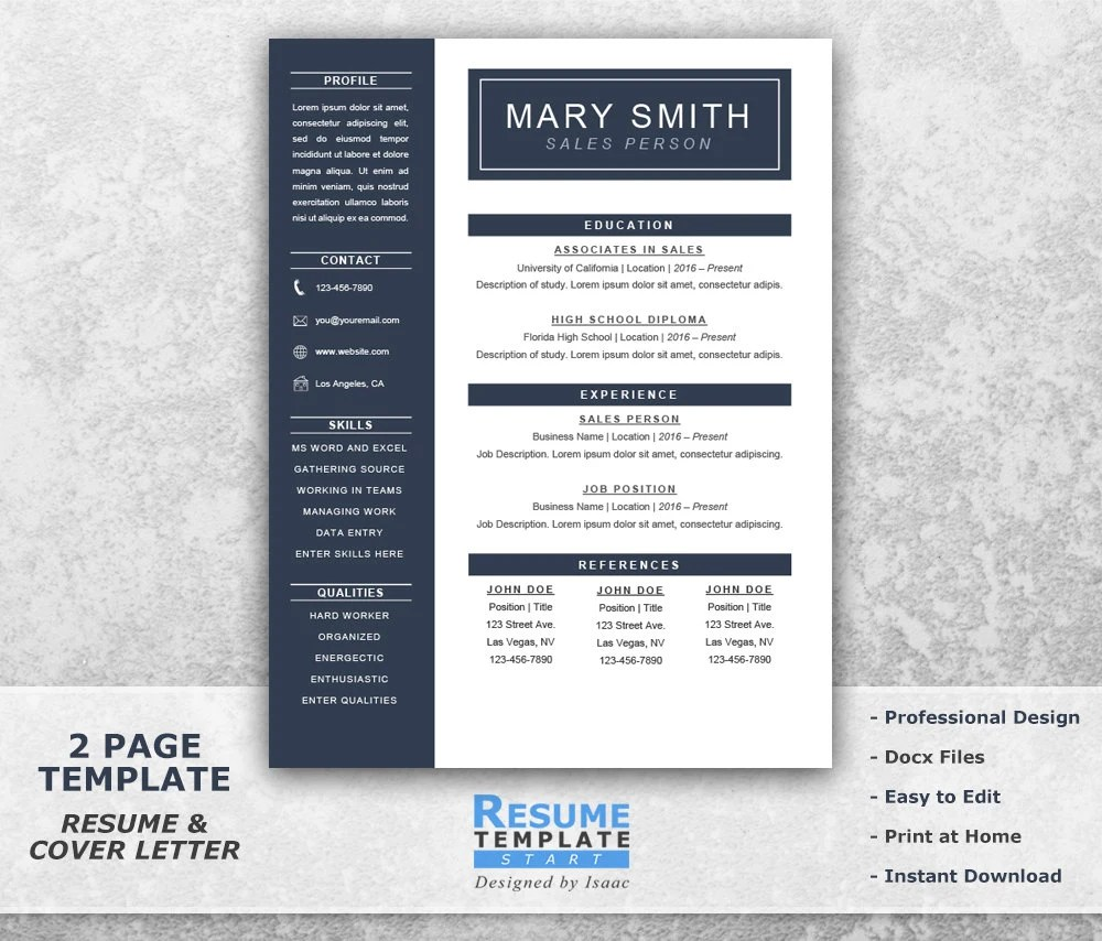 One Page Resume Template Word Resume Cover Letter