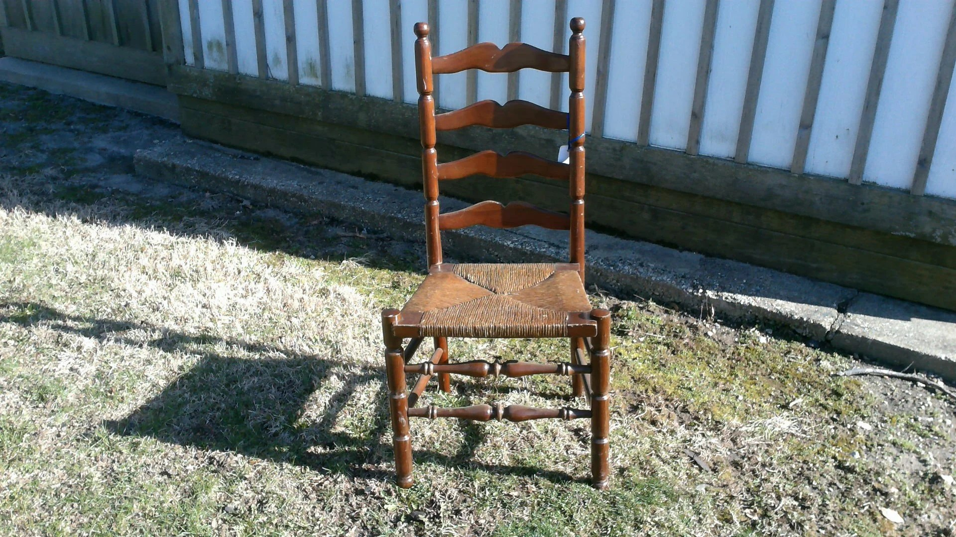 antique ladder back chairs with rush seats rolling office chair brakes walnut finish seat etsy
