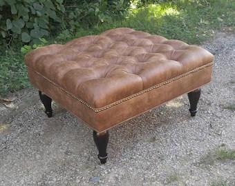 leather ottoman etsy