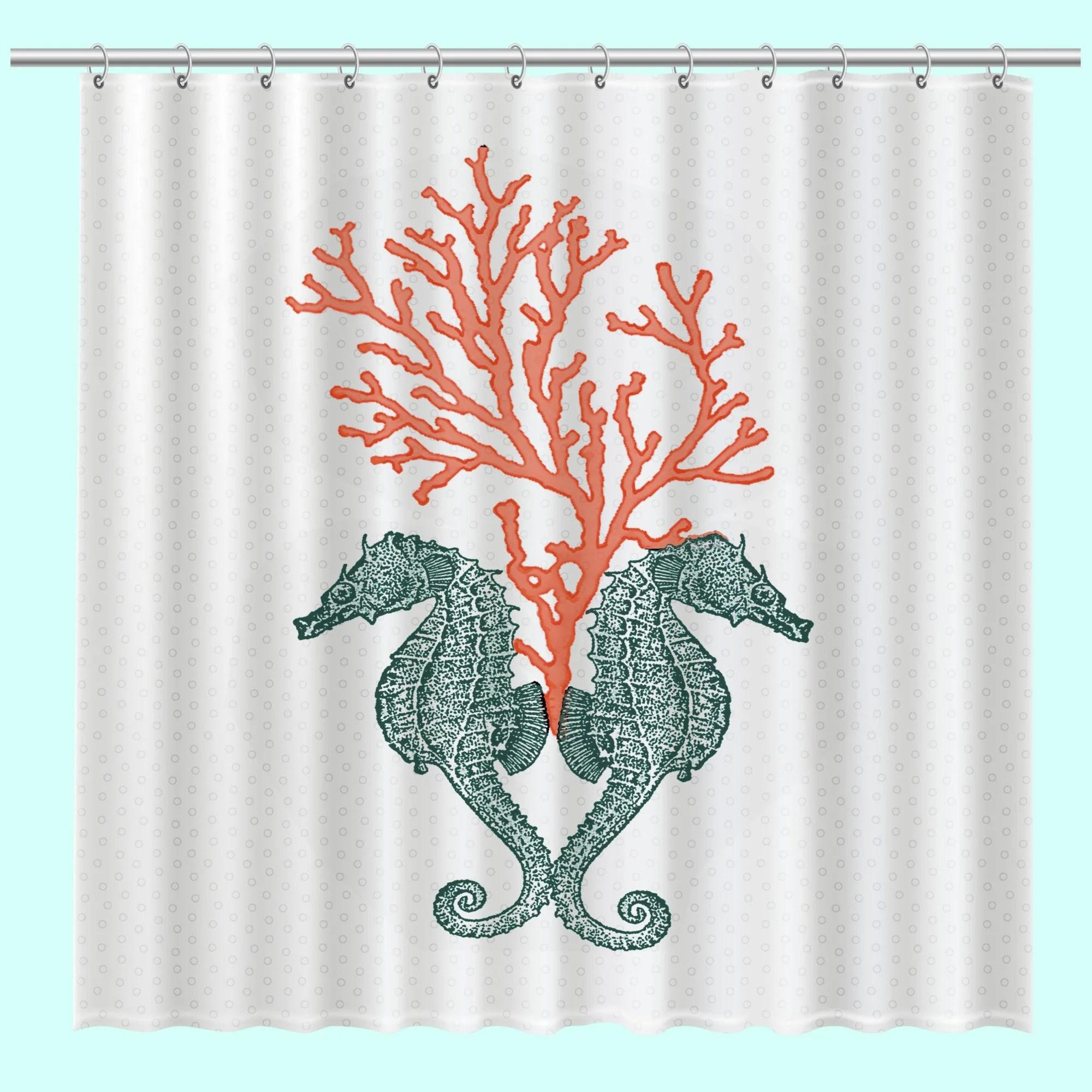 Seahorse And Coral Shower Curtain Beach Decor Seahorse