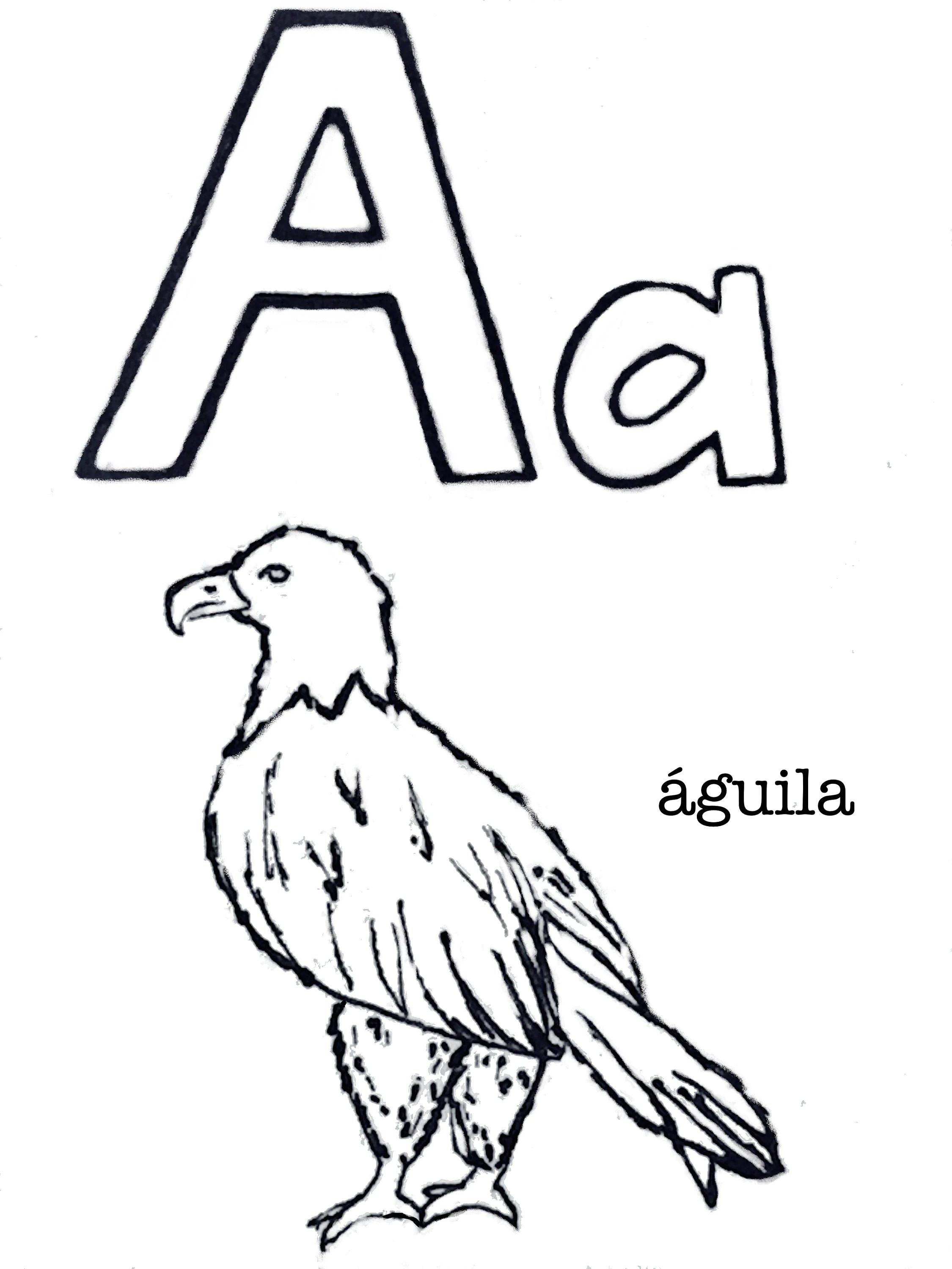 Printable Coloring Book Animal Alphabet in Spanish