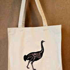 Ostrich Skeleton Diagram 2001 Dodge Durango 4x4 Wiring Etsy Embroidered Vintage Graphic Reusable Canvas Tote Bag