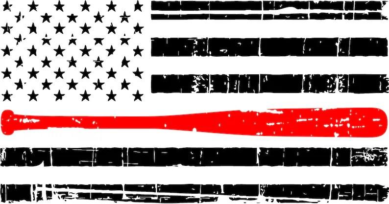 Download Distressed Thin Red Line Baseball Bat American Flag SVG   Etsy