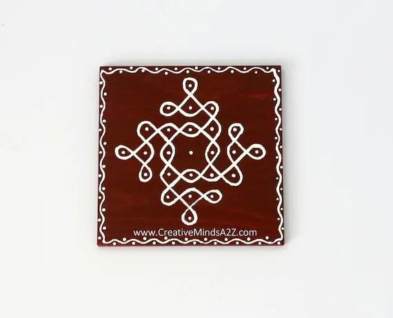 4inx4in wood tile kolam rangoli traditional floor art festival etsy
