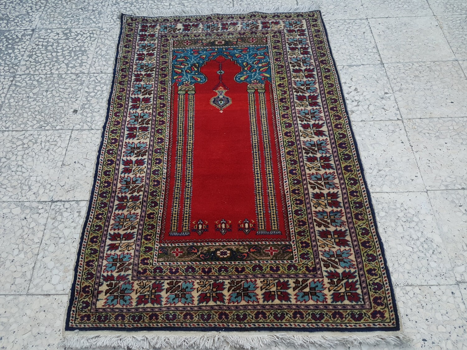 Teppich Shaggy Shine Traditional Oriental Handmade Prayer Carpet Double Knotted Small Sized Pile Rug Wall Hanging Floor Covering Rugs 3 X 4 7 92x139cm