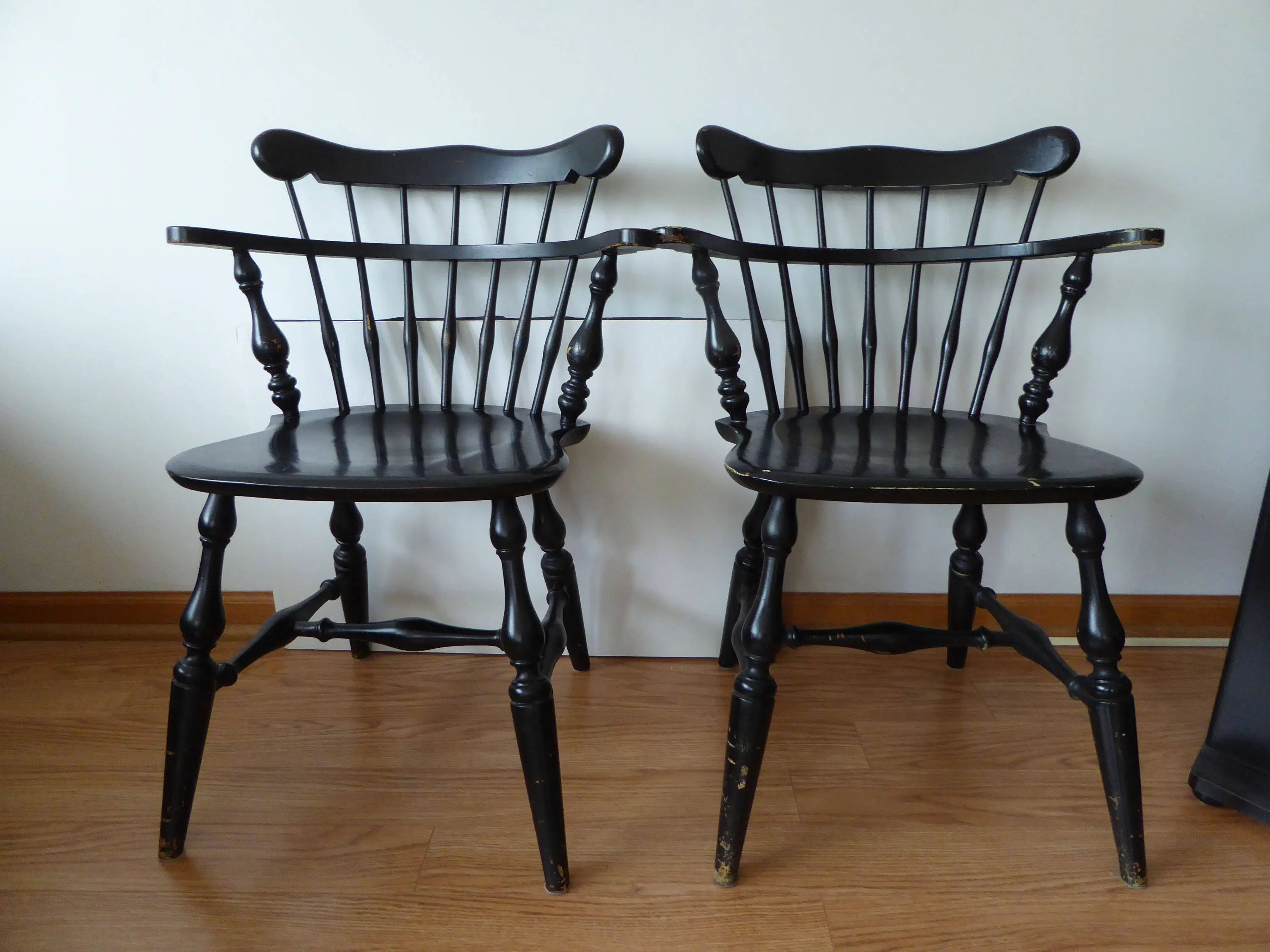 Windsor Chairs Black Vintage Windsor Chairs Black Bowback Lowback Pair