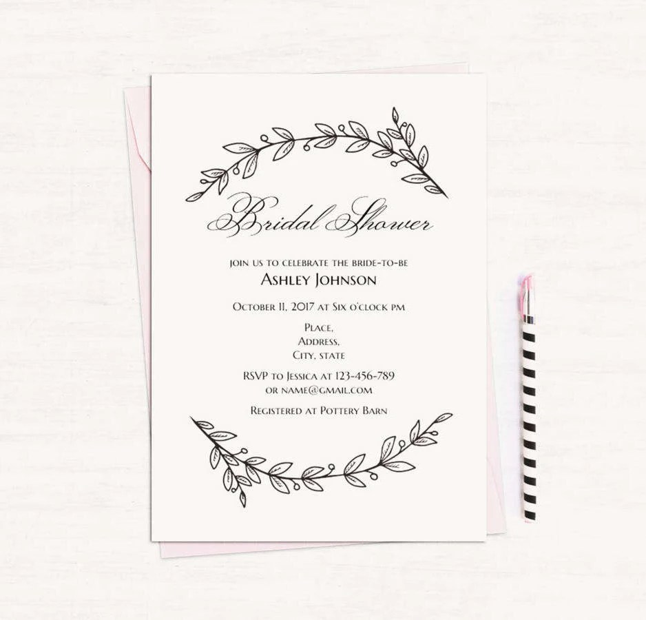 Simple bridal shower invitation template Black and white
