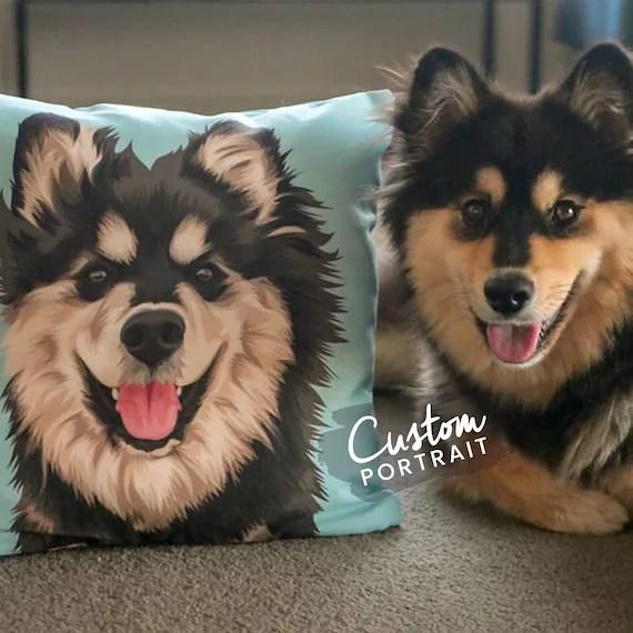 custom pillow pet portrait pet portrait pillow custom pet pillow portrait dog pillow art dog portrait pet loss gift basic illustration