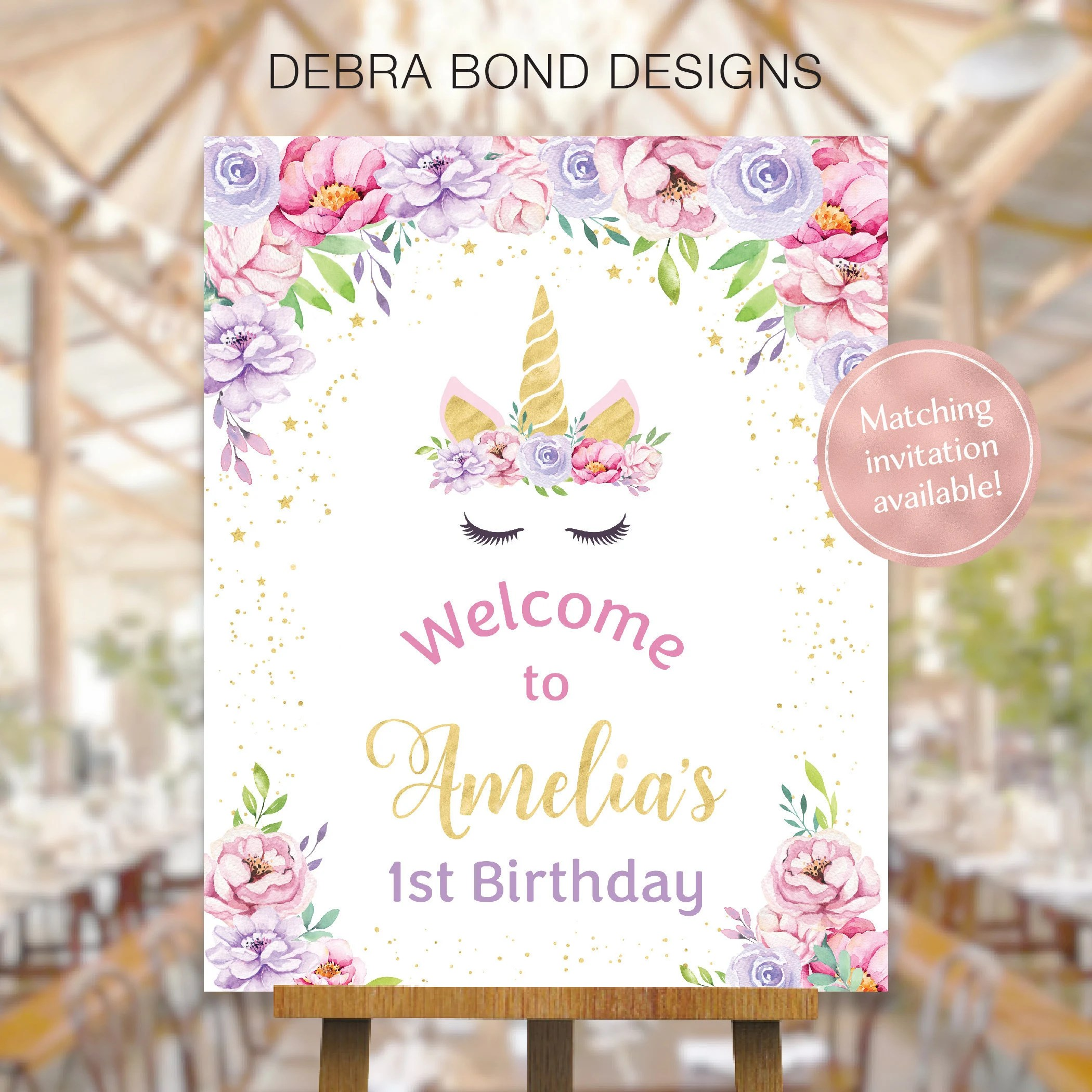 unicorn welcome sign birthday party