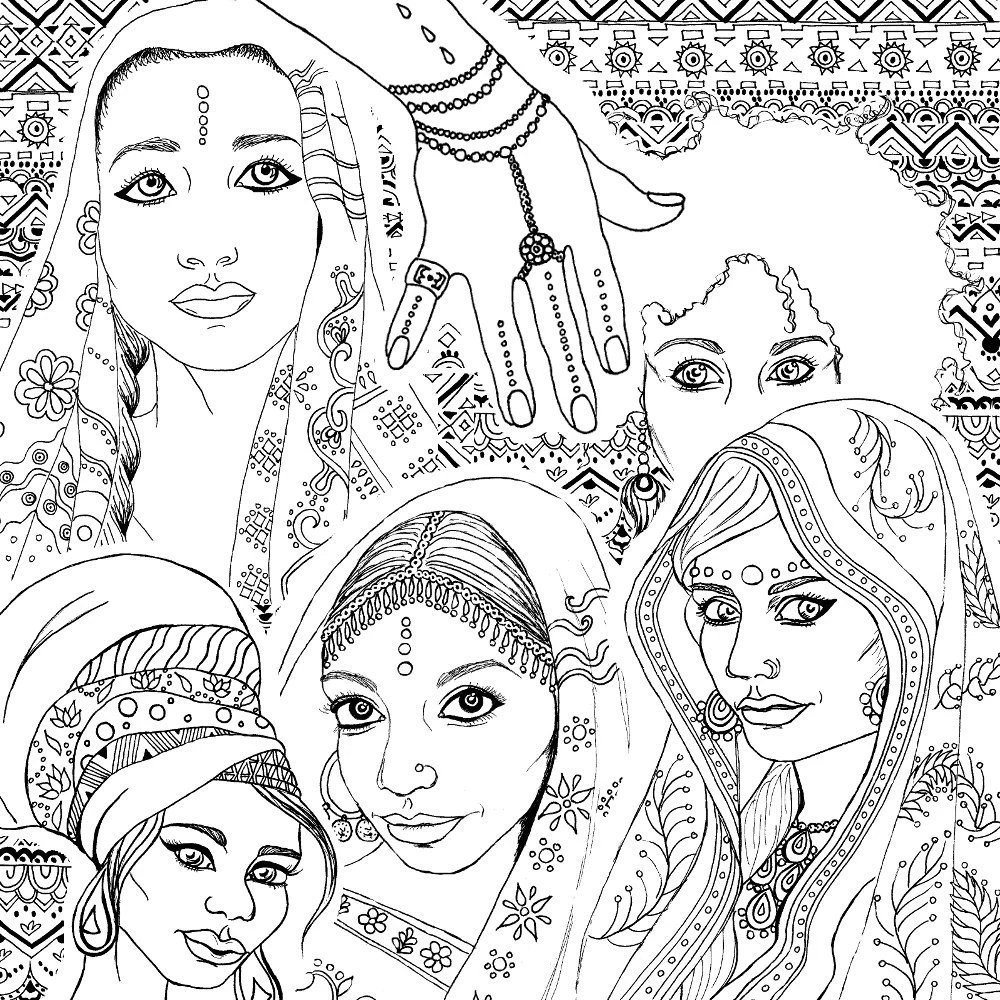 Coloring Book for Adults Indian & African Fashion