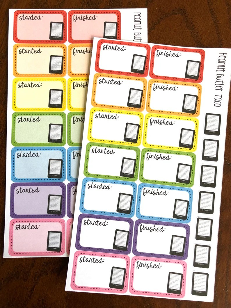 Rainbow E-Reader Started & Finished Planner Stickers  Reading