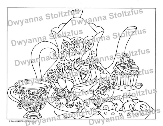 tea party coloring page jpg  etsy