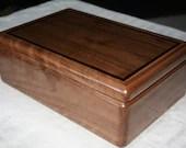 Black Walnut and Wenge Trim Jewelry Box, Wood Jewelry Box, Wooden Jewelry Box, Jewelry Box Organizer, Walnut and Wenge trim Box. 13WB