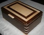 Wooden Jewelry Box, American Walnut with Figured Maple trim, Jewelry Box, Keepsake Box, Jewelry Storage Box, 5th Anniversary Gift, 36FW