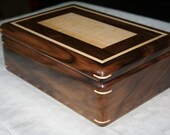 Wooden Jewelry Box, American Walnut Figured Maple Jewelry Box, Wood Jewelry Box, 5th Anniversary Gift for Her, Jewelry Organizer. 102RW