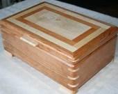 Wood Jewelry Box, Cherry  and Figured Maple, 5th Anniversary Gift, Keepsake Box, Wooden Jewelry Box, Jewelry Box Organizer. 13FC