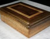 Wood Jewelry Box, Black Limba with American Walnut Jewelry Box, Men's Jewelry Box, Keepsake box, Jewelry Storage box, 7BLW