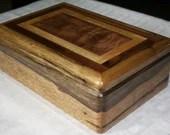 Wood Jewelry Box, Black Limba with American Walnut Jewelry Box, Men's Jewelry Box, Keepsake box, Jewelry Storage box, 8BLW