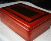Padauk and Wenge Wood Jewelry Box, Wooden Jewelry Box, Keepsake Box, Valet Box, Wood Jewelry Box, Jewelry Storage Box. 4PW
