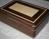 Jewelry Box, Wood Jewelry Box, 5th Anniversary Gift, Wooden Jewelry Box, Jewelry Box Organizer,  Walnut and Figured Maple Wood Box. 94RW
