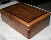 Black Walnut Jewelry Box, Wood Jewelry Box, 5th Anniversary Gift, Wooden Jewelry Box, Jewelry Box Organizer, Walnut and Wenge trim Box. 5WB