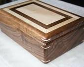 Wood Jewelry Box, American Walnut and Figured Maple, Wooden Jewelry Box, 5th Anniversary Gift for Her, Jewelry Box Organizer, . 112RW