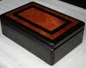Black Wenge with Bubinga Wood Jewelry Box,, 5th Anniversary Gift for Him,  Wooden Jewelry Box, Keepsake Box, Valet Box, Storage Box. 3WB