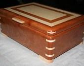 Cherry  and Figured Maple Wood Jewelry Box, 5th Anniversary Gift, Keepsake Box, Wooden Jewelry Box, Jewelry Box Organizer. 9FC