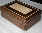 Wooden Jewelry Box, American Walnut and Figured Maple, Wooden Jewelry Box, 5th Anniversary Gift for Her, Jewelry Box Organizer, . 115RW