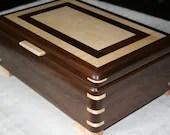Wooden Jewelry Box,  American Walnut with Figured Maple trim, Jewelry Box, Keepsake Box, Jewelry Storage, 5th Anniversary Gift for Her, 43FW