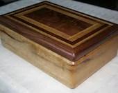Wooden Jewelry Box, Black Limba with American Walnut Jewelry Box, Men's Jewelry Box, Keepsake box, Jewelry Storage box, 12BLW