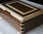 Walnut and Figured Maple Wood Jewelry Box, Wood Jewelry Box, 5th Anniversary Gift, Wooden Jewelry Box, Jewelry Box Organizer. 59WM