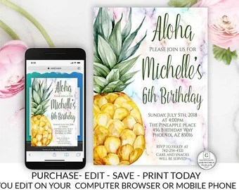 Pineapple Birthday Party Invitation Tropical Fruit Template Line Diy Cheap Electronic School Invitations Summer