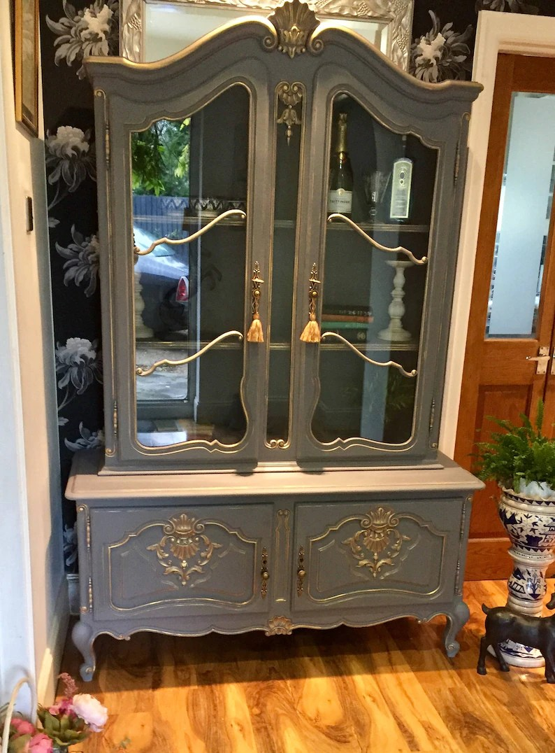 Sold French Carved Vintage Louis Style Shabby Chic Bookcase Display Drinks Cabinet In Annie Sloan Chalk Paint