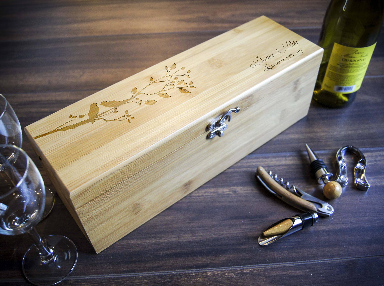 Personalized Wooden Wine Box, Luxury Wine Box, Anniversary