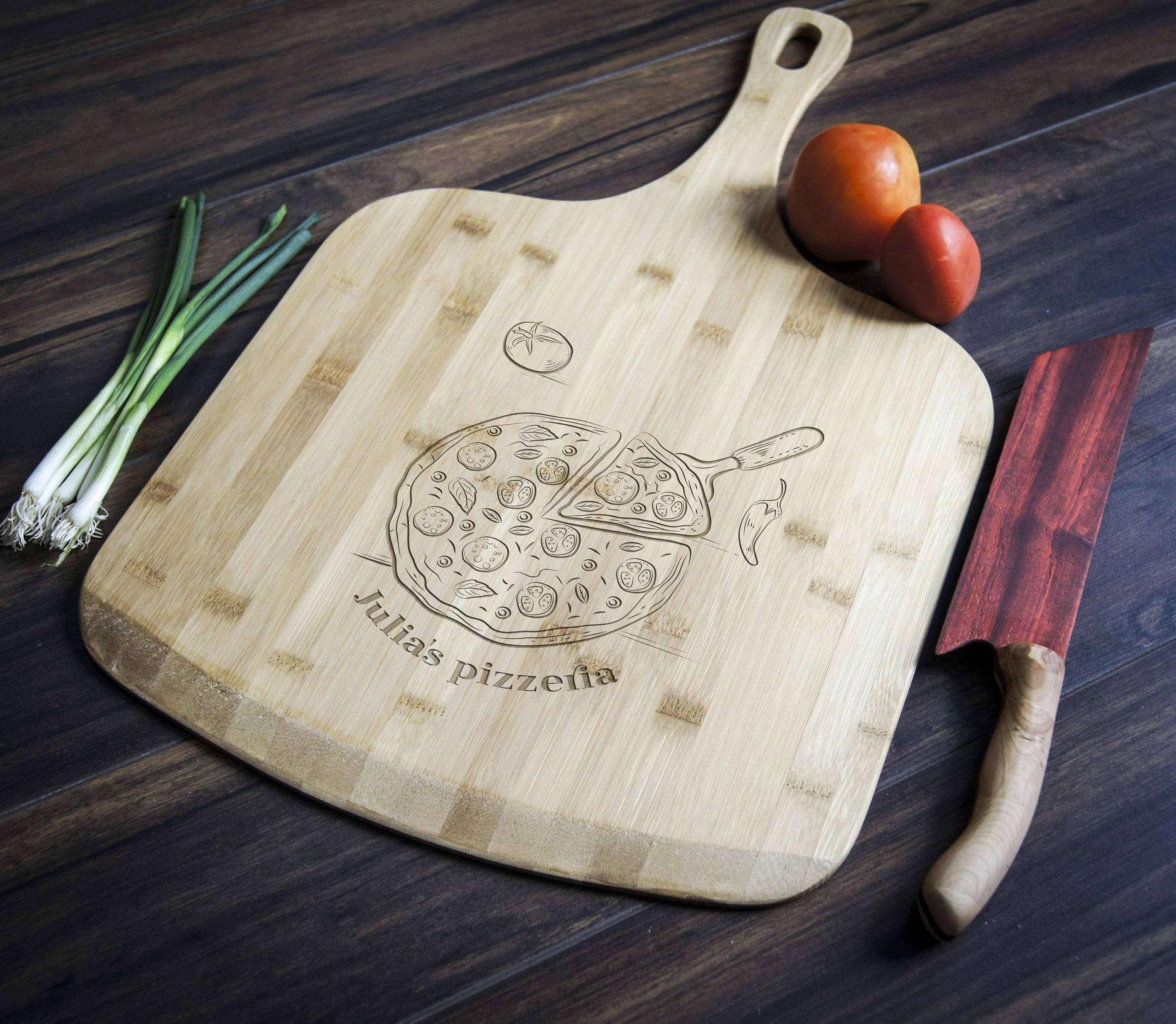Personalized pizza board custom pizza peel engraved pizza image 1